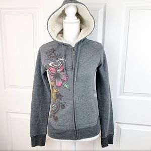 Roxy Floral Gray Fleece Hoodie Zip Up Sweater